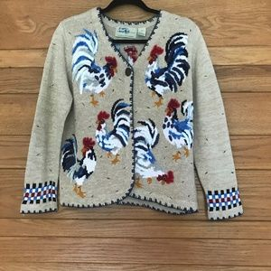 Vintage embroidered chicken cardigan